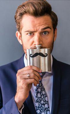 Mustache Stainless Steel Flask