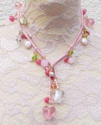 Pink & Green Handmade Suede Lariat Necklace We Love Heart, Lariat Necklace, Heart Jewelry, Pink And Green, Originals, Crochet Necklace, Hearts, Jewellery, Handmade