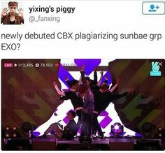 """""""Oh my gosh, CBX is plagiarizing EXO's sunbaes!""""  And I love that person's username XD"""