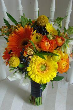 colors, Craspedia, sunflowers