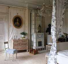 Throughout Ekensberg Manor outside Stockholm, Sweden, many of the pine floors were whitewashed.