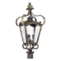5783-CB | Acadiana Outdoor Post Lantern In Castle Bronze And Water Glass - 5783-CB