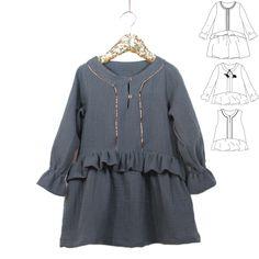 2308afba65296 Patron de couture Trio Blouse-Top-Robe LILAS PDF 3-12A