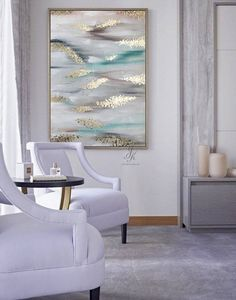 White abstract canvas art, Gold Leaf Silver Leaf Painting,Oil painting artwork, Original Abstract Painting, Unique wall art by Julia Kotenko Modern Canvas Art, Large Canvas Art, Abstract Canvas Art, Oil Painting Abstract, Large Wall Art, Modern Art, Abstract Trees, Painting Canvas, Oil Paintings