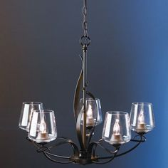 Hubbardton Forge Flora 5 Light Shaded Chandelier Finish: Bronze, Glass Type: Stone Glass Dome