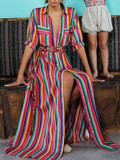 - Cute Bohemia Striped Shirt Maxi Dress – Ncocon Mode Hippie, Mode Boho, Maxi Shirt Dress, Maxi Dress With Sleeves, Plus Dresses, Casual Dresses, Bohemia Dress, Fashion Corner, Striped Maxi Dresses