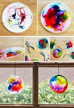 food art for kids crafts Suncatcher craft for kids made from glue, food coloring, and recycled plastic lids BABBLE DABBLE DO Easy Crafts For Kids, Summer Crafts, Toddler Crafts, Crafts To Do, Preschool Crafts, Projects For Kids, Diy For Kids, Arts And Crafts, Children Crafts