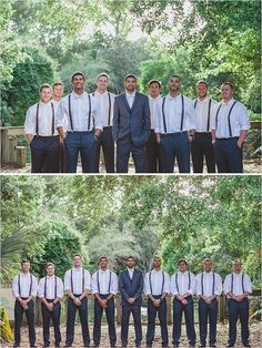 charcoal grey groomsmen in suspenders @weddingchicks