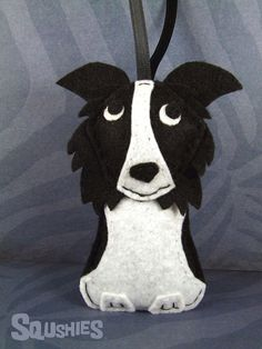 Handmade Holiday Dog Ornament Felt Dog Border Collie by Squshies, $22.00