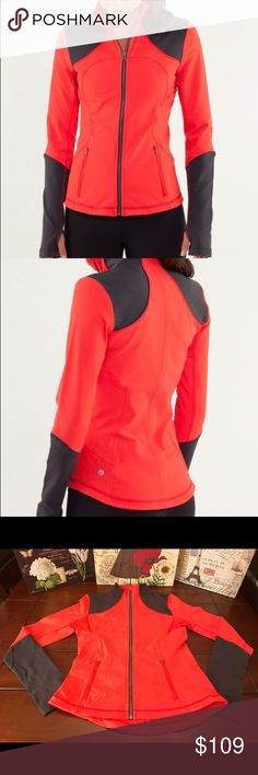 """Lululemon Forme Jacket-Love Red/Deep Coal, Size 8 Lululemon Forme Jacket-Love Red/Deep Coal, Size 8  Super cute with Love Red and Deep Coal (dark gray) colors. The pockets have a mesh interior and there are thumb hole """"cuffins"""" at the wrists. This would be great worn casually with jeans or with shorts/leggings for your workout. Release date, November 2011. Fabulous condition! ☺  Length-23.5 inches Bust- 36 inches (18 inches across when zipped) Material-Luon lululemon athletica Jackets…"""