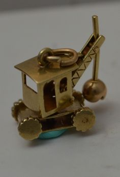 14k Gold 3D Vintage Tractor Draglines Moveable Charm