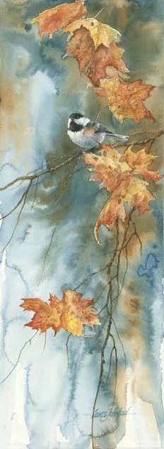 Watercolor painting by Lance Johnson called Chick in a Tree. Art Watercolor, Watercolor Pictures, Love Art, Painting Inspiration, Painting & Drawing, Art Projects, Art Drawings, Illustration Art, Chickadees
