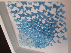 Check out artwork/ blue paper butterflies/ collage/ nursery decor/ wall decor/ gift/ birthday present / personalised / butterflies on gosiaandhelena Paper Butterflies, Butterfly Cards, Blue Butterfly, Beautiful Butterflies, Dyi Crafts, Handmade Crafts, Decor Crafts, Arts And Crafts, Nursery Decor