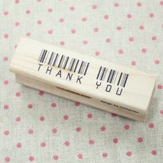 Thank You Stamp Barcode da WonderlandRoom su Etsy. $5.90, via Etsy.