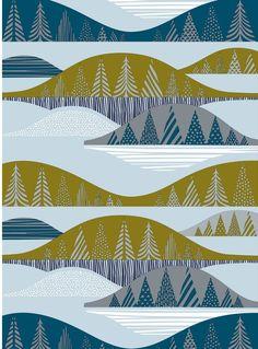 ru wp-content uploads 2012 11 Kultakero-fabric-design-Sanna-Annukka-for-Marimekko. Design Textile, Art Design, Textile Patterns, Fabric Design, Print Patterns, Textiles, Graphic Design, Art Postal, Marimekko Fabric