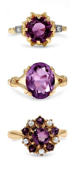 Amethyst center stones dazzle in these one-of-a-kind antique rings. 7a08d5ab335