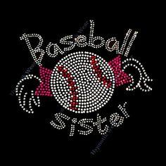 "Rhinestone Transfer  ""Baseball Sister "" Cute, Iron-On, Hotfix, Bling"