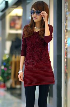 Morden Style Stereo Flowers Pleated Long Sleeves Cotton Blend Women's Dress (WINE RED,ONE SIZE)   Everbuying.com