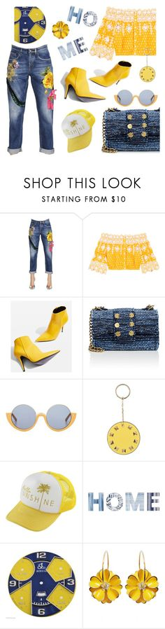 """""""Embroidered Jeans"""" by bysc ❤ liked on Polyvore featuring Dolce&Gabbana, Miguelina, Topshop, Marni, Valentino, O'Neill and Jacob & Co."""