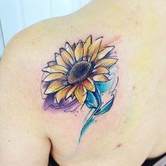 Watercolor sunflower tattoo - 60+ Sunflower Tattoo Ideas