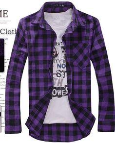 Venda quente colorido da verificação da xadrez manga comprida Vire down Collar Casual Men Shirts em Camisas Casuais de Roupas & acessórios no AliExpress.com | Alibaba Group