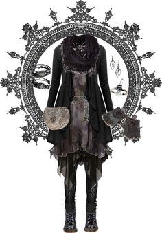 pandora-hydrangea-velours:  Silver hints par pandora-hydrangea-velours utilisant jupe noire