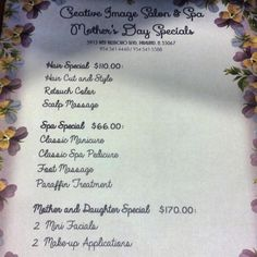Mother's Day Specials Event at Creative Image Salon and Spa     www.creativeimagesalon-spa.com
