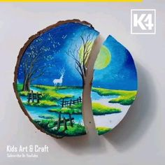 """Credit """"kids art and craft"""" Canvas Painting Tutorials, Diy Painting, Painting & Drawing, Oil Pastel Drawings, Art Drawings, Painted Rocks, Painted Wood, Beautiful Drawings, Cool Paintings"""