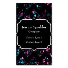 SOLD this design 1st time! Sparkly pink and blue mosaic with Black Chevron Business Card Template by #PLdesign #PinkAndBlueMosaic #SparklesCard