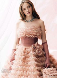 One of the most beautiful color or pink wedding dresses I've ever seen. By Jill Stuart Bridal. -- Romantic Wedding Dresses by Jill Stuart Wedding Dress Cake, Amazing Wedding Dress, Pink Wedding Dresses, Pink Gowns, Bridal Dresses, Flower Girl Dresses, Wedding Gowns, Wedding Attire, Party Dresses
