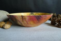 Artistic With Dyed Pink Overtones. Wooden Fruit Bowl, Wooden Bowls, Pink Dye, Wood Creations, Wooden Jewelry, Rustic Modern, Handmade Wooden, Wood Crafts, Decorative Bowls