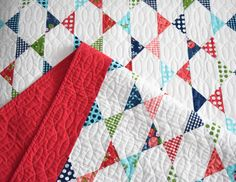 Gooseberry Star Patch Quilt - made entirely of quarter square triangles and squares so it's super easy to make! Fabric is Gooseberry by Lella Boutique. Free instructions on the Moda Bake Shop blog.