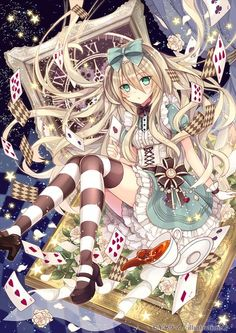 Anime picture 				707x1000 with  		alice in wonderland 		alice (wonderland) 		nozomi fuuten 		long hair 		single 		tall image 		blush 		looking at viewer 		breasts 		fringe 		green eyes 		sitting 		holding 		hair between eyes 		zettai ryouiki 		eyelashes 		:o 		high heels 		puffy sleeves 		lens flare