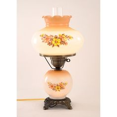 summit floral hurricane antique brass finish table lamp gold