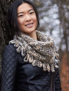 Yarnspirations.com - free crochet pattern for Loop Fringe Cowl. Easy enough for beginners, and a quick project for experienced hookers