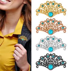 Shirt-Accessories-18K-Gold-Platinum-Plated-Turquoise-Fan-Shaped-Pin-Brooches