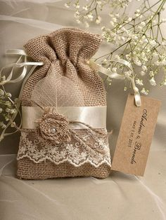 Natural Rustic Burlap Wedding Favor Bag