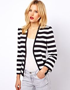 A striped piece always works wonders on any outfit. Enlarge Mango Cotton Striped Blazer