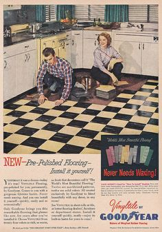 Vinyltile by Good Year 1952, with vintage yellow Chambers range stove