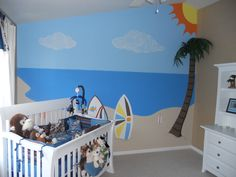 surf baby...Ideas for Landon's room. This is the bed set I have
