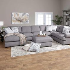 Jerome's Furniture offers the 3 Piece Grey Overstuffed Sectional Sofa - RAF w/ LAF Chaise at the best prices possible with fast, low-cost delivery. Small Living Room Design, Living Room Grey, Living Room Designs, Living Room Furniture, Home Furniture, Rustic Furniture, Antique Furniture, Outdoor Furniture, Furniture Ideas