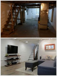 Cozy Chic Basement Reno with Exposed Painted Joists & Wood Tile Floors . Cozy Chic Basement Reno with Exposed Painted Joists & Wood Tile Floors Old Basement, Small Basement Remodel, Basement Layout, Basement Bedrooms, Basement Renovations, Basement Ideas, Basement Apartment, Basement Designs, Rustic Basement