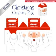 Christmas Santa Cut-Out Box - with ready to print templates! Check out all the…