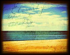 Eternity. Remember your eternal inheritance and destination as you gaze into the deep blue horizon stretching without end. A glimpse back in time, a vision of our future. Signed, sealed and delivered from our Father's heart to yours. This print has been crafted using many layers of various textures and colors. The tiny imperfections you may see are purposefully exhibited to create a painterly and timeless effect. Print will be mounted on a 6mm Sintra Board, flush to the edges so tha...