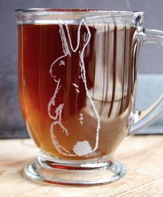 Hand Etched Clear Glass Rabbit Bunny Mug Coffee Cup by ruthie5573