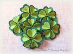 Felt Shamrock Blooms  St. Patrick's Day by DogwoodCornerDesigns
