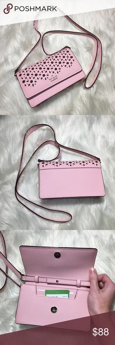Kate Spade Cameron Crossbody Bag Kate Spade Cameron Street Arielle- Perforated leather crossbody bag. Tag is not attached to purse. Nordstrom return sticker on back of tag. Strap is a little kinked from storage. kate spade Bags Crossbody Bags