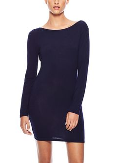On ideel: LA CLASS Long Sleeve Solid Dress with Back Scoop Neck