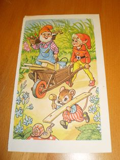 the elf gnome and mouse are caring the wood   by pureplusproducts, $8.00