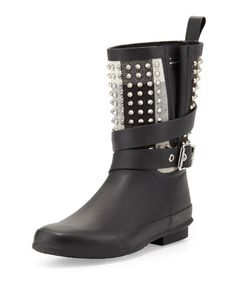 Rubber Studded-Shaft Short Rainboot by Burberry at Neiman Marcus. Burberry  Rain Boots, 772b7595ee9